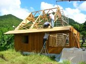 A bamboo house is constructed in Martinique