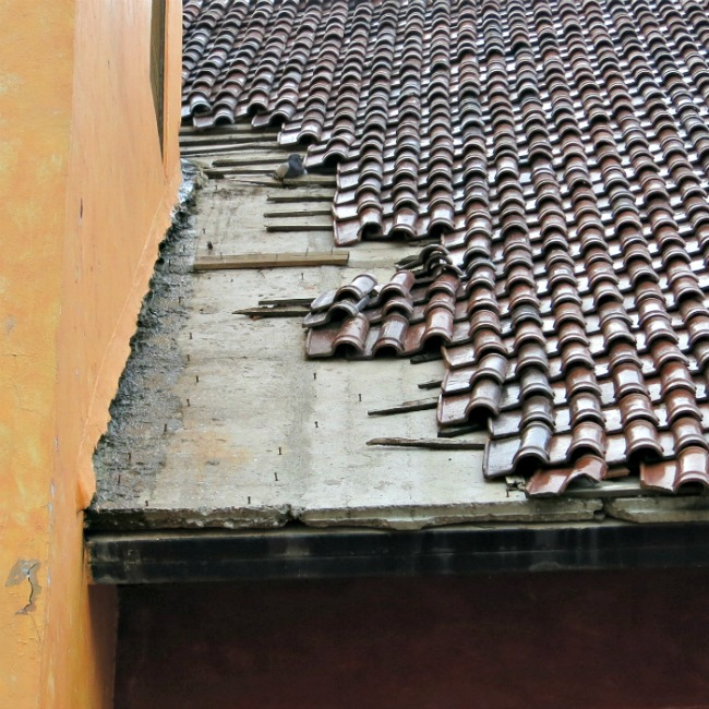 Poured concrete roof in Mexico, overlaid with Spanish Tile.