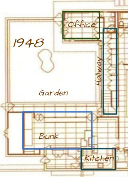 Map of the 1948 Expansion of the Rosenbaum House - a Frank Lloyd Wright Usonian House
