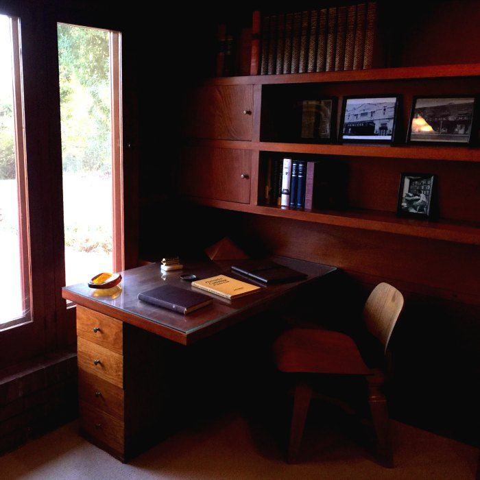 A built in desk in the study of the Rosenbaum House, a Frank Lloyd Wright Usonian House