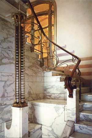 The staircase in Victor Horta's Art Nouveau home
