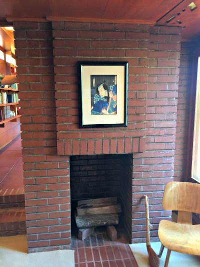 Study Hearth in the Rosenbaum House, a Frank Lloyd Wright Usonian House