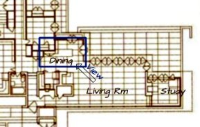 Map of the Dining Room in the Rosenbaum House - a Frank Lloyd Wright Usonian House