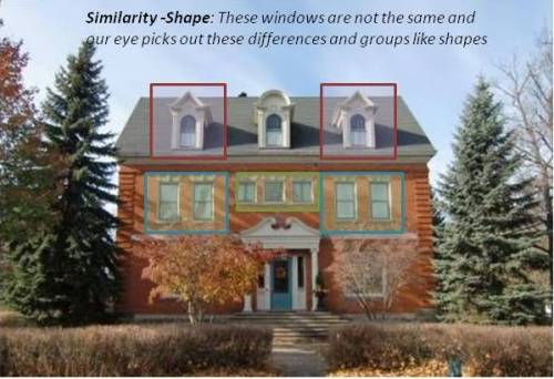 gestalt shape similarity example showing a house with similar shapes