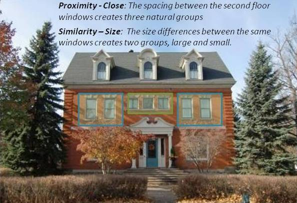 gestalt proximity grouping showing a house with groupings of windows