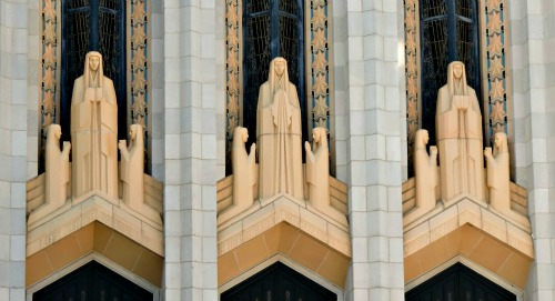 Art Deco statues found  immediately above the doors to Boston Avenue Methodist