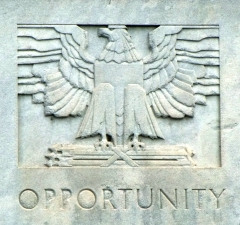Art Deco Bas-Relief Carving with Eagle