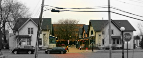 Braun Court in Ann Arbor is pedestrian friendly, a House Cluster and a Small Public Square