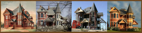 A collage of pics showing a Victorian reproduction house and the original