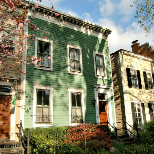 This green home is a row-house in D.C.