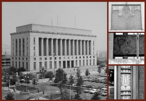Art Deco Classical collage showing the Davidson County Courthouse with some of the Art Deco details