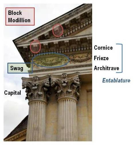 A Corinthian column and entablature