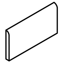 A line drawing of a bullnose tile - this provides a smooth, rounded edge - bathroom tile ideas