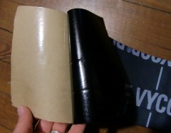 Grace Vycor Plus flexible flashing with backing peeled