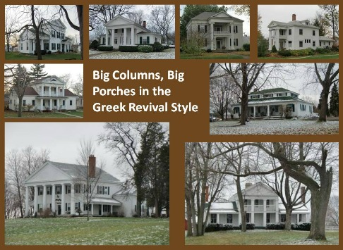 These Greek Revival homes all bear the temple columns that we associate with Greek Revival architecture. / Temple columns aren't required but they sure let you know that this is a Greek Revival style home