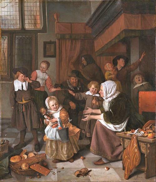 House Interiors by the Old Masters - Jan Steen's Feast of Saint Nicholas - 1664