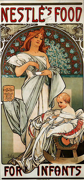 Art Nouveau - Alphonse Mucha ad for Nestle's Food for Infants
