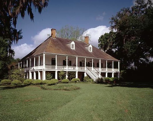 Parlange Plantation, Louisiana.  Note that the main floor is elevated.