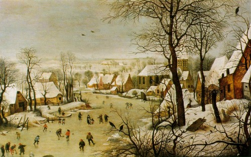 Houses in Art - Pieter Bruegel the Elder - Winter Scene with Bird Trap - 1565