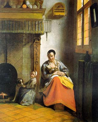 Houses in Art - Interiors- Pieter de Hooch - A Woman Nursing an Infant with a Child and a Dog - 1660