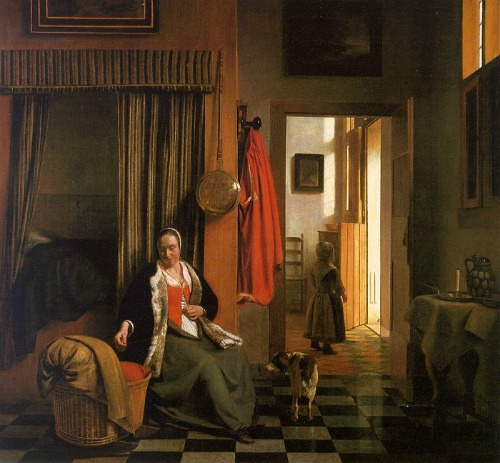 Houses in Art - Interior - Pieter de Hooch - Mother Lacing her Bodice with Cradle - 1663