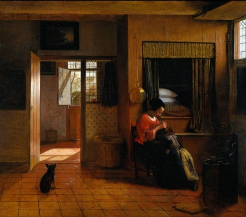 In this painting by Pieter de Hooch we can a window on an interior wall between the foyer and the bedroom.