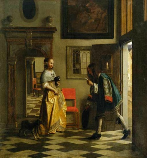 Houses in Art - Interiors - Pieter de Hooch - The Messenger