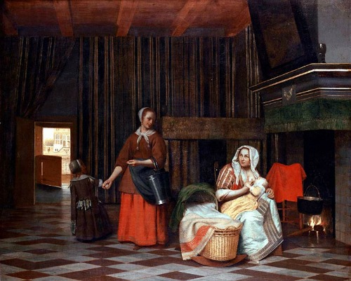 Houses in Art - Interiors - Pieter de Hooch - Suckling Mother and Maid