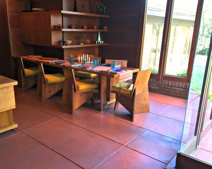 Dining Room in the Rosenbaum House - a Frank Lloyd Wright Usonian House