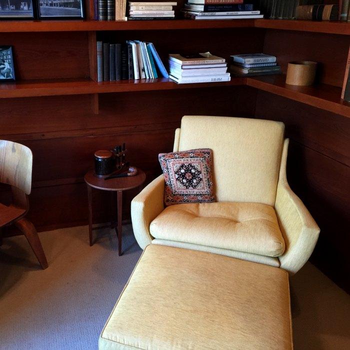 Corner of the study in the Rosenbaum House, a Frank Lloyd Wright Usonian House