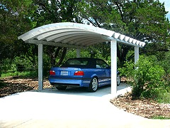 Steelmaster car port has a graceful arch