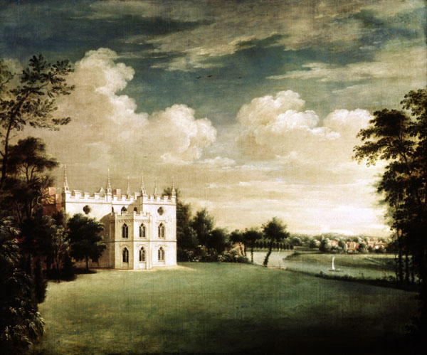 Strawberry Hill , Horace Walpole's little Gothick castle, by Johann Heinrich Muntz, courtesy Greenhorn at Wikimedia, http://commons.wikimedia.org/wiki/File:Johann_Heinrich_M%C3%BCntz_Strawberry_Hill_Twickenham_1755-1759_Horace_Walpole.jpg