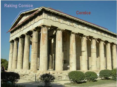 The temple of Hephaestos is missing Metopes.  They were probably once there.