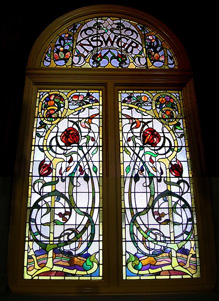 Stained Glass Window by Louis Comfort Tiffany in the Art  Nouveau Style – New South Whales Grand Railroad