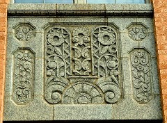 Volutes bas relief on Art Deco style Will Rogers High School in Tulsa OK