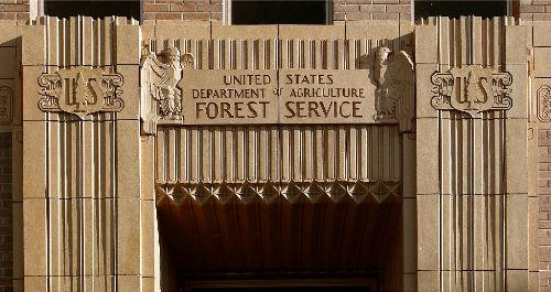 Art Deco Architecture Forest Service Building Entrance in Ogden, UT