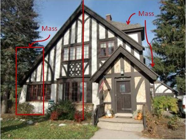 Architectural Balance -This Tudor-style half-timbered house is shown as an example of asymmetrical balance