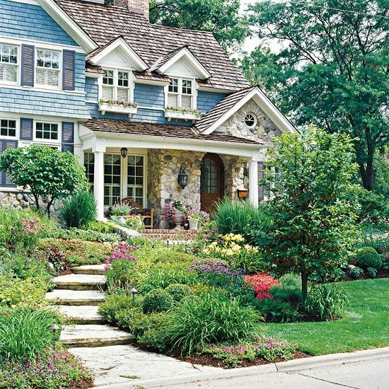 A good decorative front door deserves a good set up.  Here the path and garden and porch are at the service of the door.