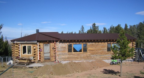 The finished handcrafted log home