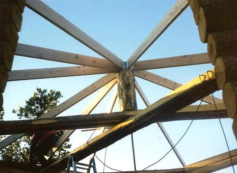 The cabin roof support structure.