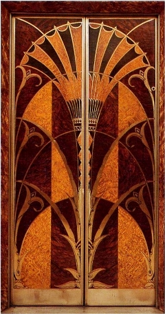 Papyrus motif on Art Deco elevator door from the Chrysler Building.  I found these doors all over the internet, but the site I got this pic from is an awesome site and well worth a visit.  But come back.