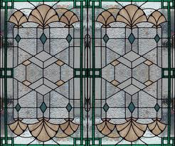 art deco stained glass window with shells theme