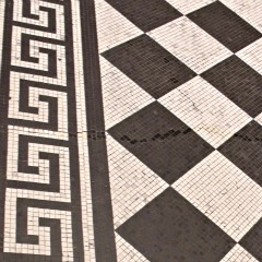 Floor tile design found at the National Gallery in London - this border is a Greek Key - a very common design in Ancient Greek Architecture - bathroom tile design ideas