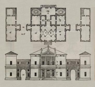 Palladian house drawing showing raised colonnade
