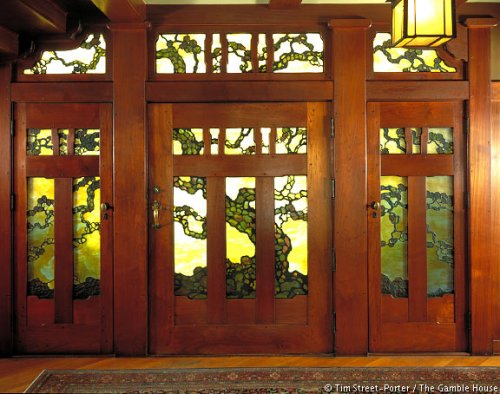 A Greene and Greene design, the Gamble House made extensive use of Art Nouveau in its interior and stained glass windows