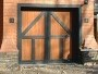 A carriage house style garage door