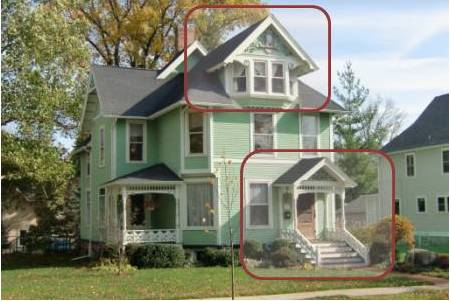 gestalt house example showing symmetry as a means of identifying a focal point