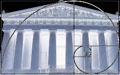 A graphic showing a recreation of the Parthenon against the Golden Rectangle