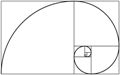 the golden rectangle with the golden spiral imposed upon it