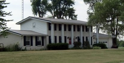 A columned house on Highway 68 in Hardin County, Ohio